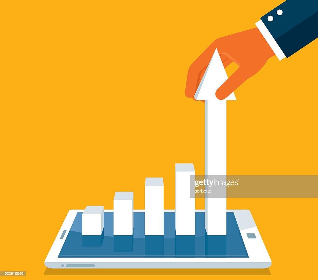 Gráfico en teléfono inteligente : Ilustración de stock