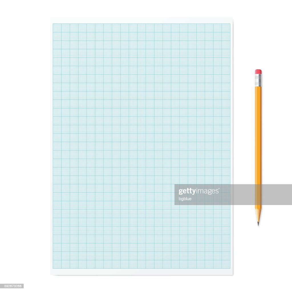 Graph paper with pencil on white background : stock illustration