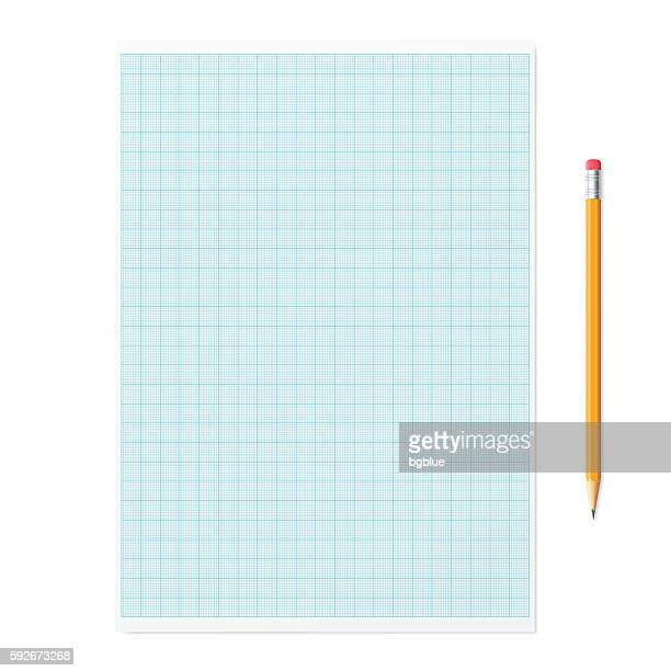 Graph paper with pencil on white background