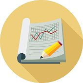 Graph Report Colored Vector Illustration