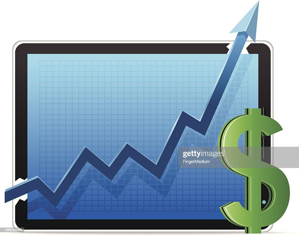 Graph with Dollar : stock illustration