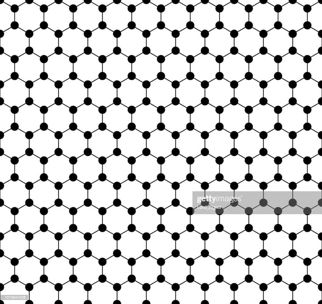 Graphene seamless pattern. Carbon lattice. Black graphene on white background. Abstract background. Graphene structure for Your business project. Vector Illustration