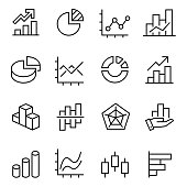 graphic and statistics icons set, editable vector stroke