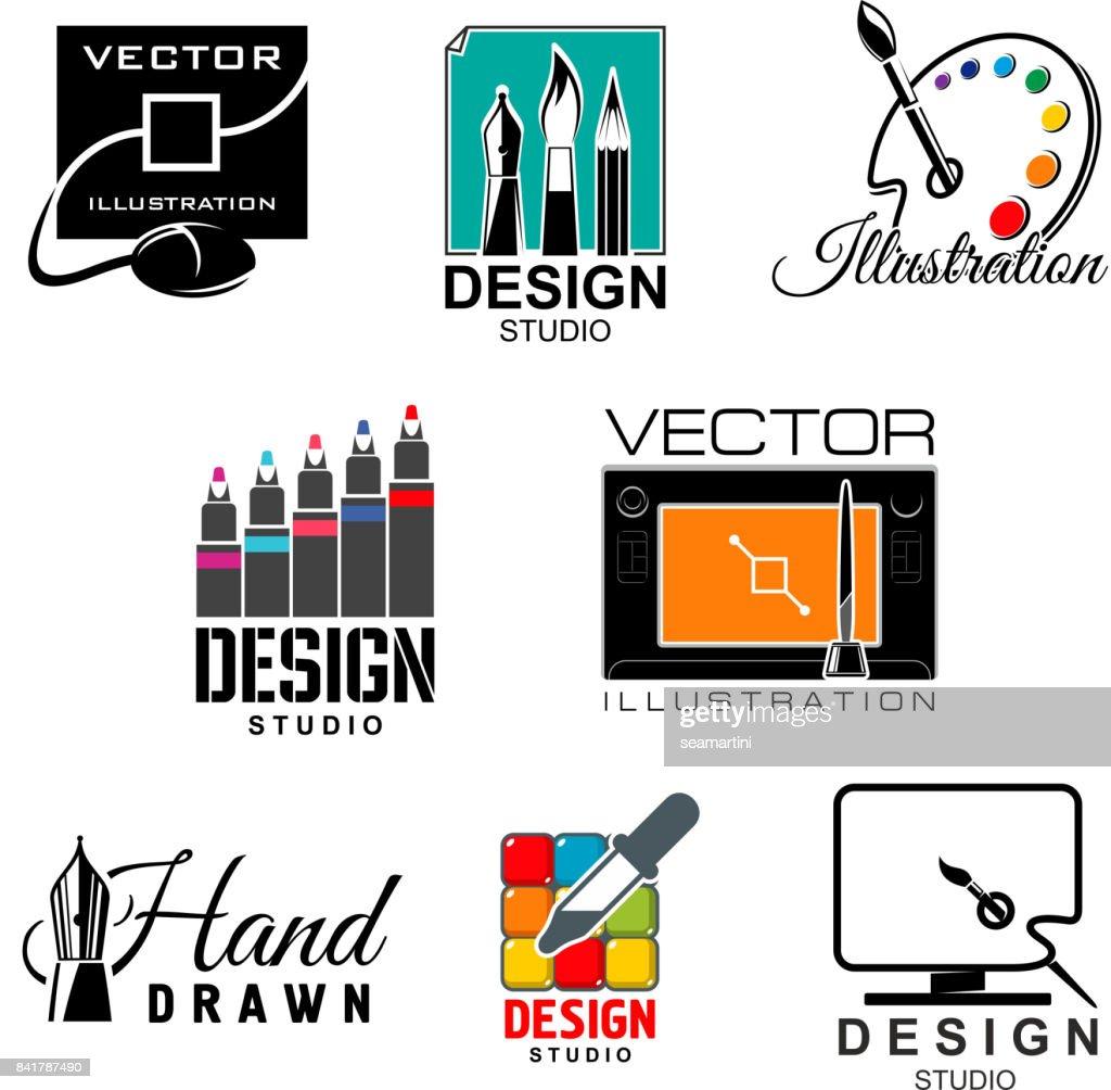 Graphic and web design studio symbol set