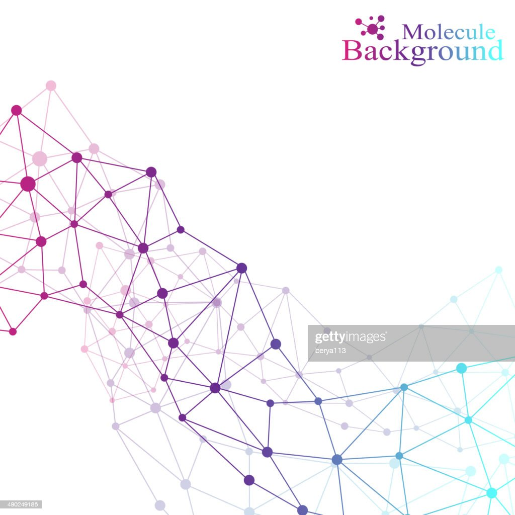Graphic background molecule and communication. Colorful Dots with connections for