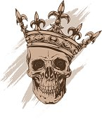 Graphic brown human skull with royal king crown