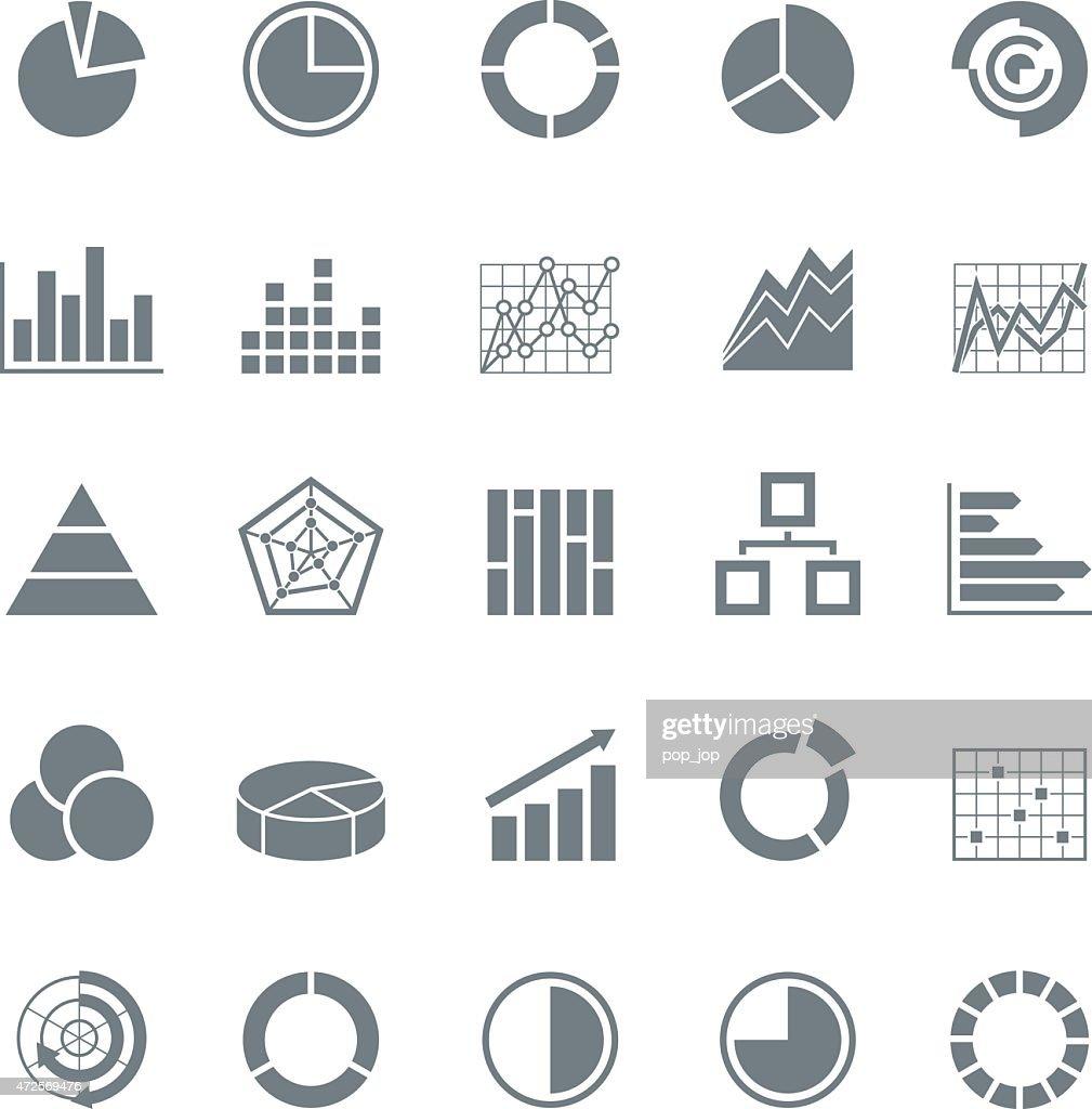 Graphic business charts -Monochrome Icons - Illustration