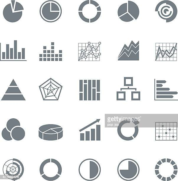 Grafica di diagrammi -Monochrome affari icone-Illustrazione