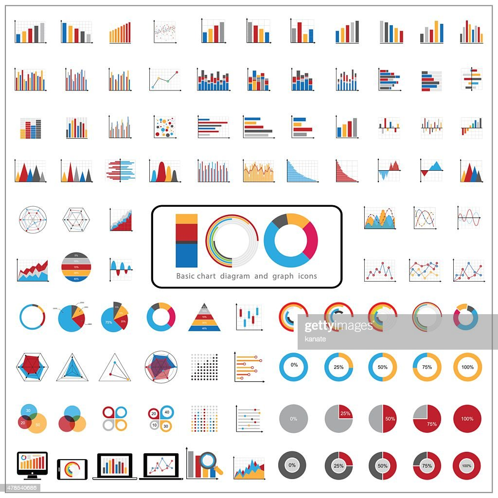 Graphic charts diagrams and business graphs icons set.