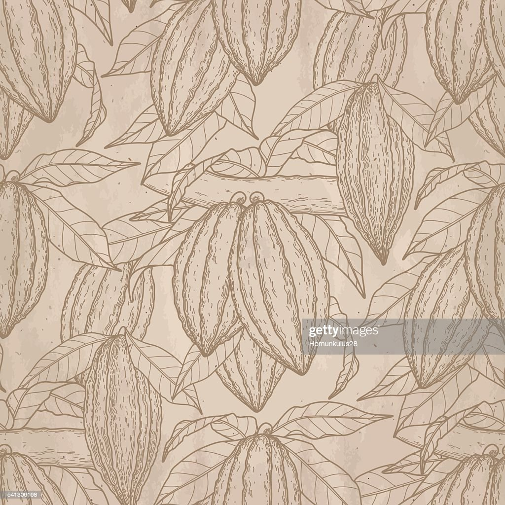 Graphic cocoa fruits pattern