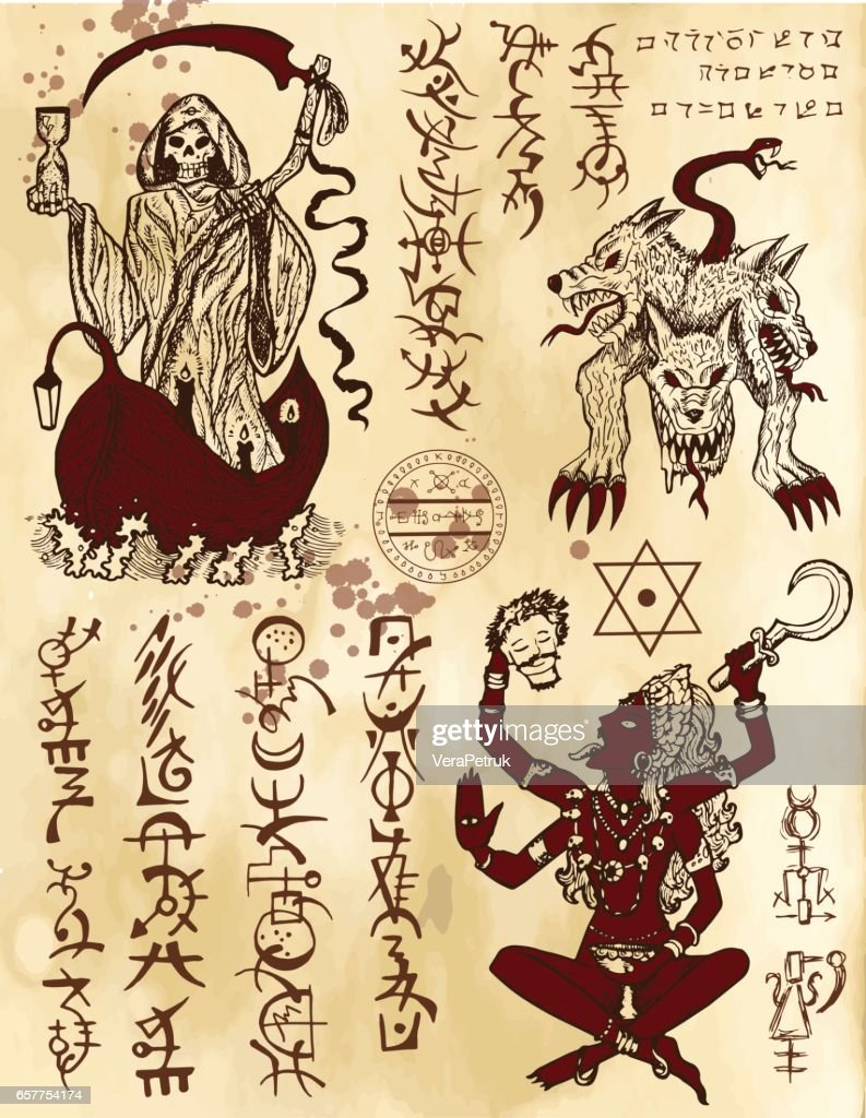 Graphic collection with death religious and mystic symbols