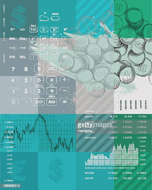 Graphic color art of finance symbols in blues and greens