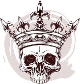 Graphic color human skull with king crown