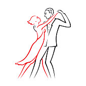 Graphic color linear drawing or icon, where a passionate couple in love, cartoon man and woman, dance tango. Luxury vector illustration, isolated on white background.