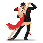 Graphic color set, where a passionate couple in love, cartoon man and woman, dance tango. Luxury vector illustration, isolated on white background.
