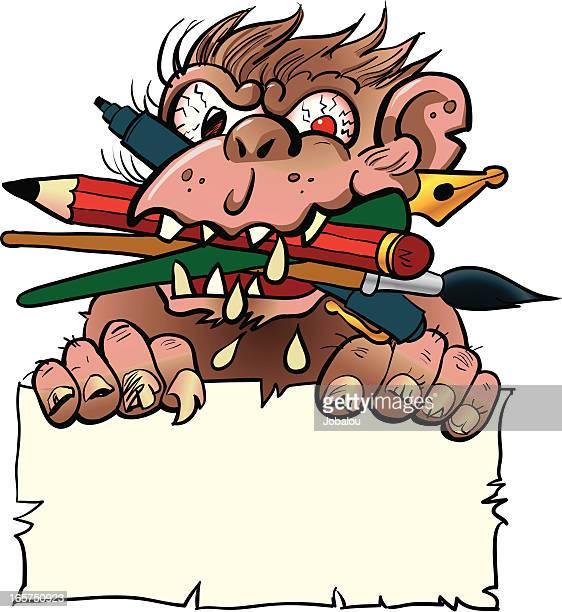 graphic crazy monkey - animal saliva stock illustrations, clip art, cartoons, & icons