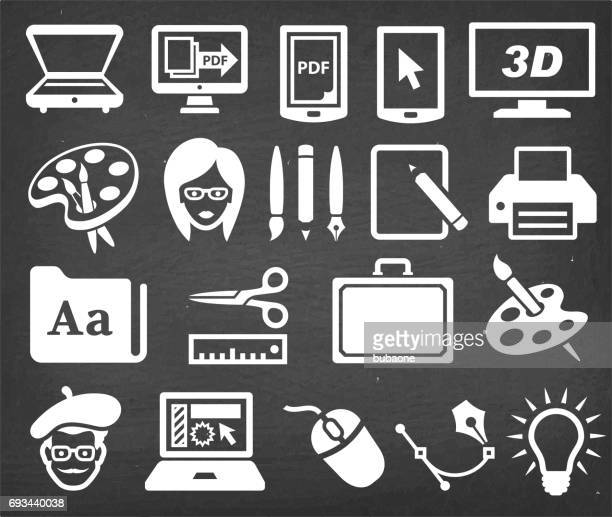Graphic Design Agency Vector Icon Set on Black Chalkboard