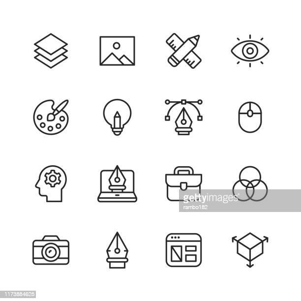 graphic design and creativity line icons. editable stroke. pixel perfect. for mobile and web. contains such icons as graphic design, art tools, image, image layer, pen, computer mouse, creativity, colour palette, layout, photography. - painted image stock illustrations