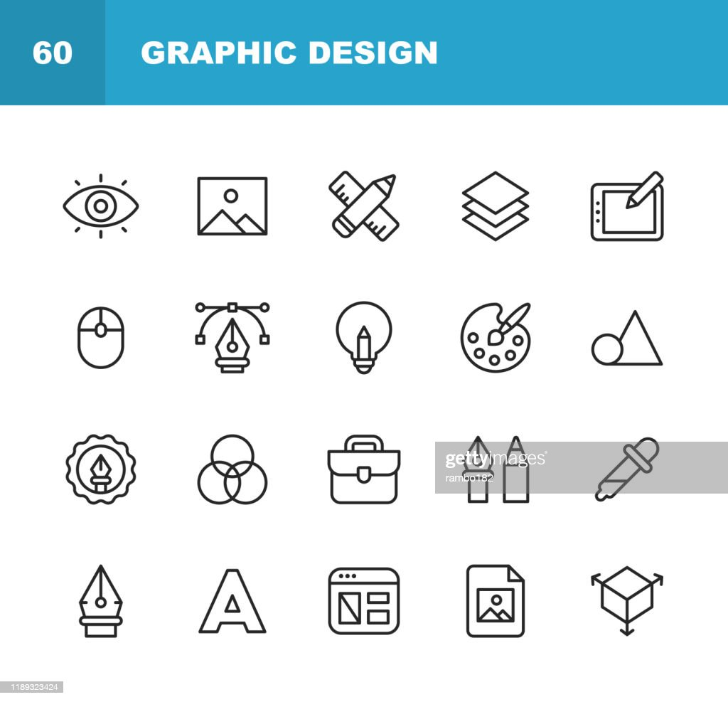 Graphic Design and Creativity Line Icons. Editable Stroke. Pixel Perfect. For Mobile and Web. Contains such icons as Creativity, Layout, Mobile App Design, Art Tools, Drawing Tablet, Typography, Colour Palette. : Stock Illustration