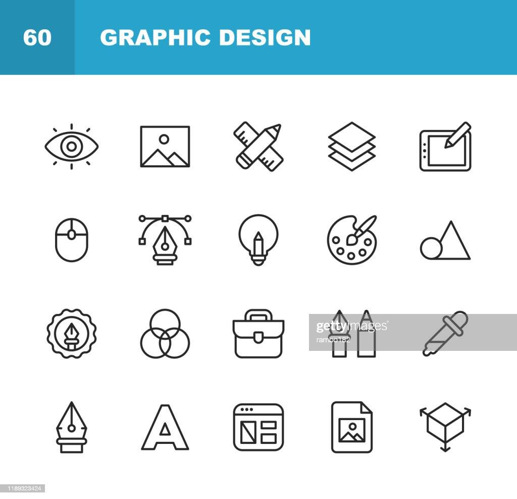Iconos de Línea de Diseño Gráfico y Creatividad. Trazo editable. Píxel perfecto. Para móviles y web. Contiene iconos como Creatividad, Diseño, Diseño de Aplicaciones Móviles, Herramientas de Arte, Tableta de Dibujo, Tipografía, Paleta de Color. : Ilustración de stock