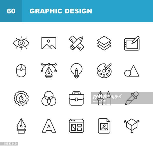 graphic design and creativity line icons. editable stroke. pixel perfect. for mobile and web. contains such icons as creativity, layout, mobile app design, art tools, drawing tablet, typography, colour palette. - art stock illustrations