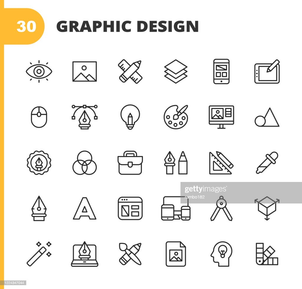 Graphic Design and Creativity Line Icons. Editable Stroke. Pixel Perfect. For Mobile and Web. Contains such icons as Creativity, Layout, Mobile App Design, Art Tools, Drawing Tablet, Typography, Colour Palette, Pencil, Ruler, Vector, Shape, Logo Design. : Ilustração de stock