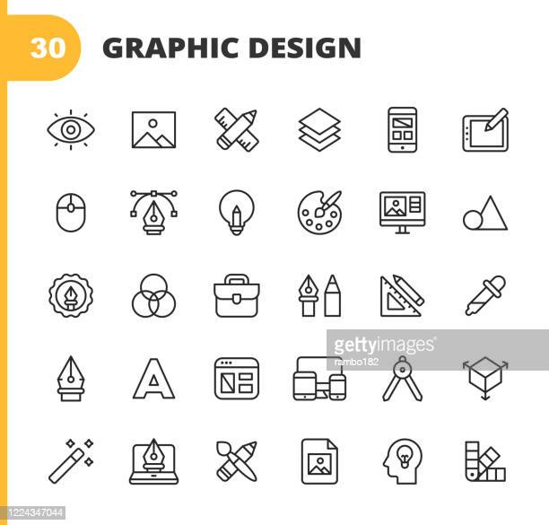 graphic design and creativity line icons. editable stroke. pixel perfect. for mobile and web. contains such icons as creativity, layout, mobile app design, art tools, drawing tablet, typography, colour palette, pencil, ruler, vector, shape, logo design. - computer graphic stock illustrations