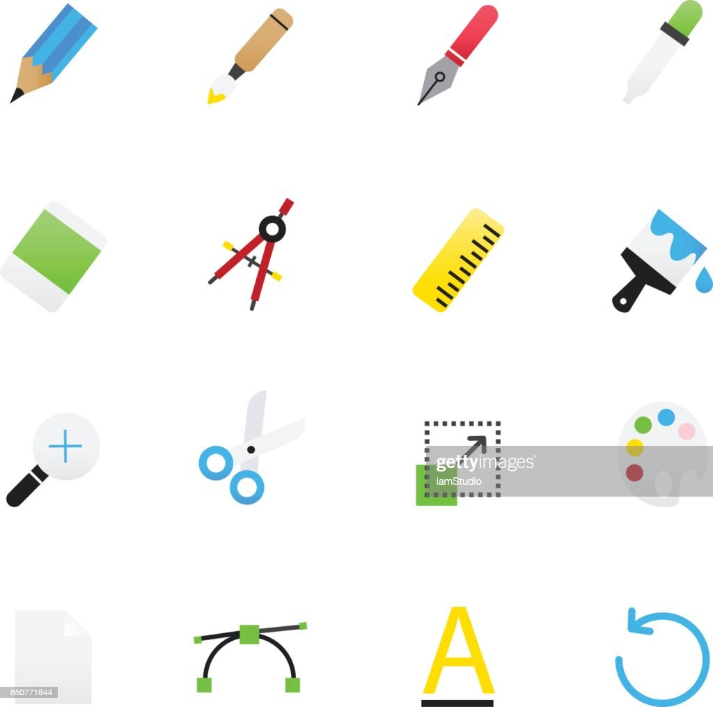 Graphic Design and Creativity. Set of Design Vector Illustration Color Icons Flat Style.