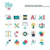 Graphic design, creative package, stationary, software and more, flat icons set