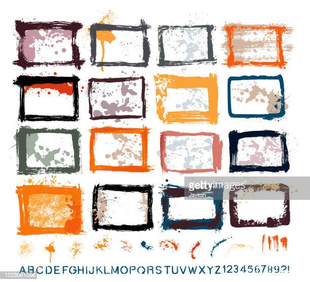 graphic design essentials : painted page borders with real scanned-in textures, brush strokes , paint drops & stencil alphabet sets. a high resolution jpeg and a grouped vector file is included. - storyboard stock illustrations