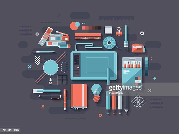 graphic design flat design concept - design occupation stock illustrations