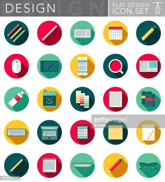 ilustraciones, imágenes clip art, dibujos animados e iconos de stock de diseño gráfico diseño plano conjunto de iconos con sombra lateral - tableta gráfica