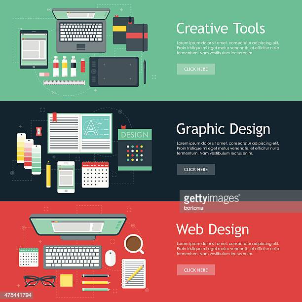 illustrations, cliparts, dessins animés et icônes de graphisme des bannières web design ensembles d'icônes - graphiste