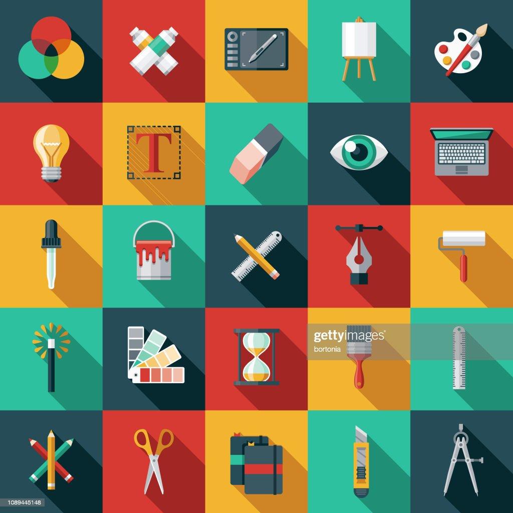 Graphic Design Flat Icon Set : Stock Illustration