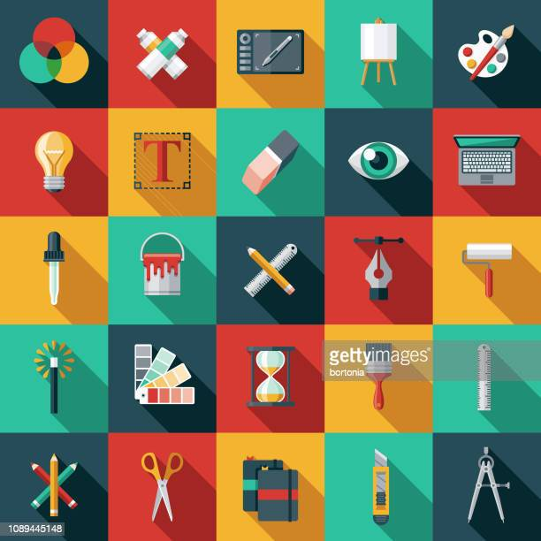 graphic design flat icon set - computer part stock illustrations
