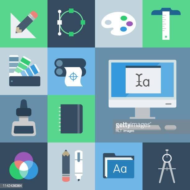 graphic design icon set — grid series - artist's palette stock illustrations