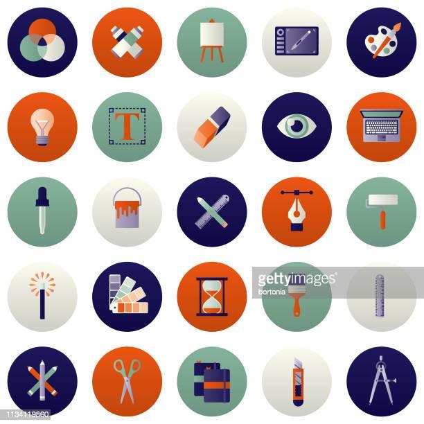 graphic design icon set - artist's palette stock illustrations