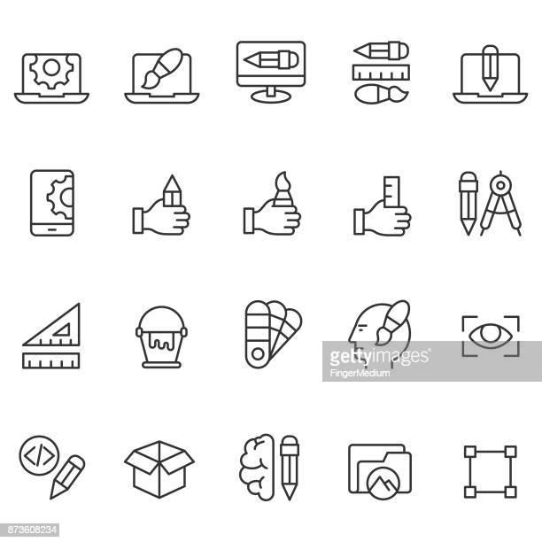 illustrations, cliparts, dessins animés et icônes de graphique ensemble d'icônes de design - graphiste