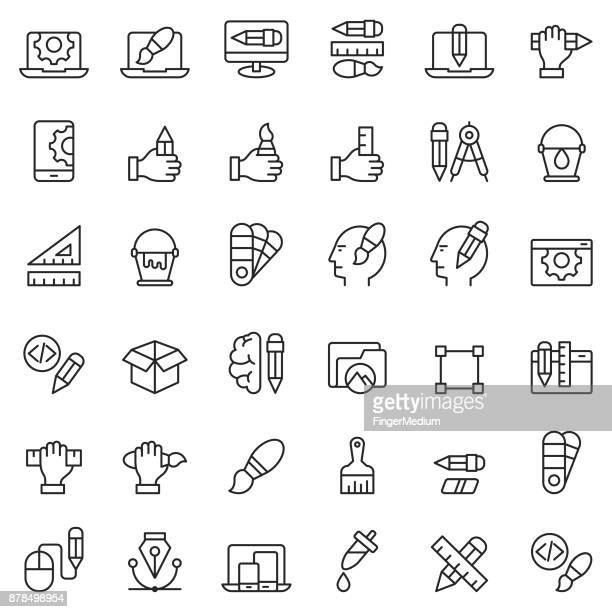 graphic design icon set - packaging stock illustrations, clip art, cartoons, & icons