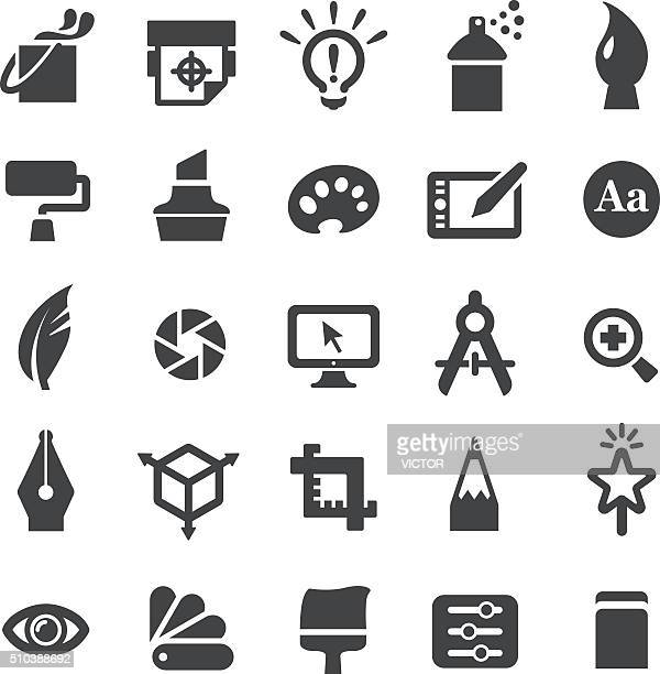 graphic design icons set - smart series - quill pen stock illustrations