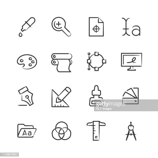 illustrations, cliparts, dessins animés et icônes de graphismes de graphisme — série sketchy - graphiste