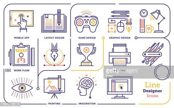 ilustrações, clipart, desenhos animados e ícones de conjunto de ícones do design gráfico linha - usar computador