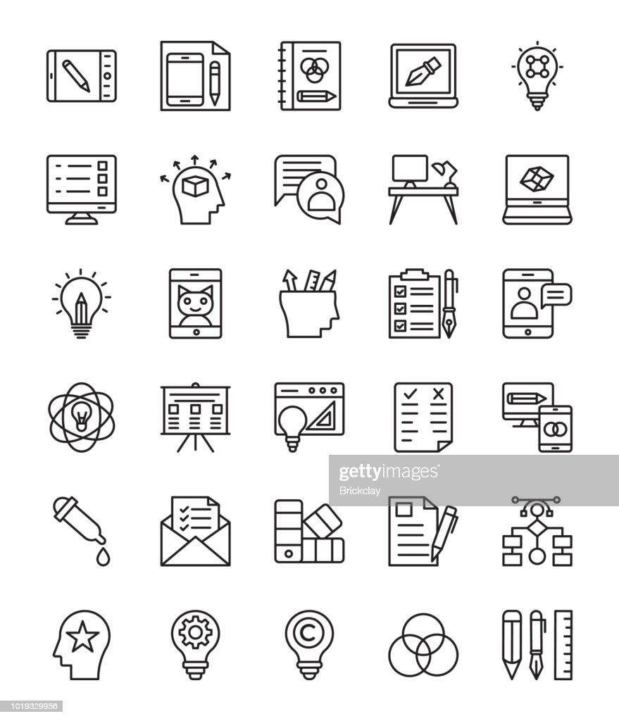 Graphic Design Line Vector Icons