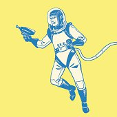 Graphic design of astronaut with a ray gun