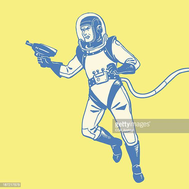 graphic design of astronaut with a ray gun - astronaut stock illustrations, clip art, cartoons, & icons