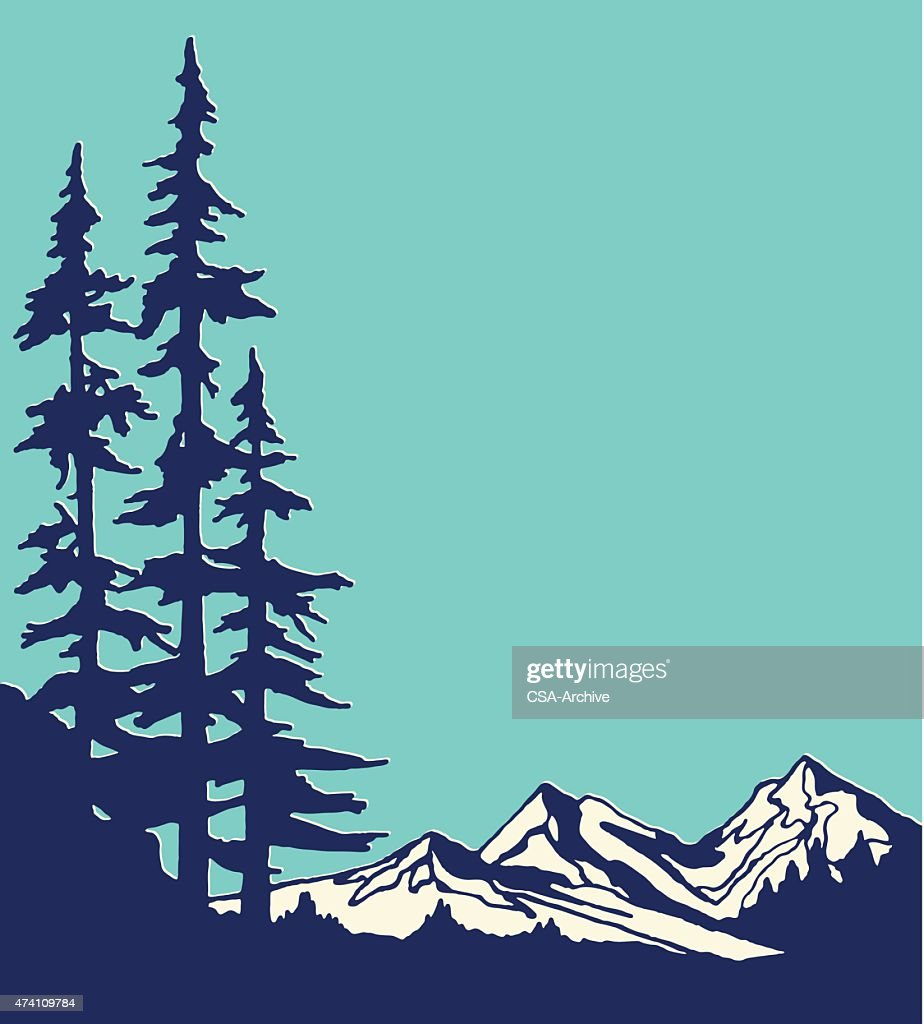graphic design of mountain and pine trees vector art getty images