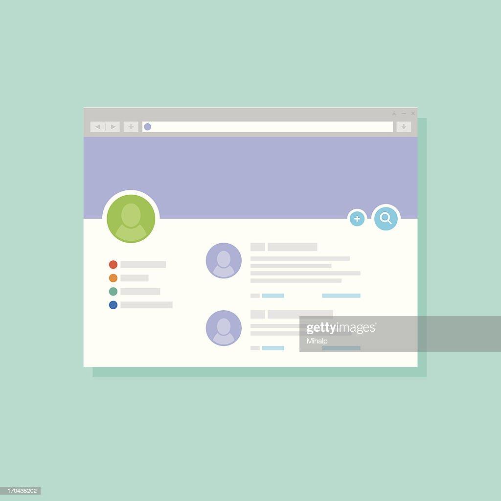 Graphic design of user profile in a website