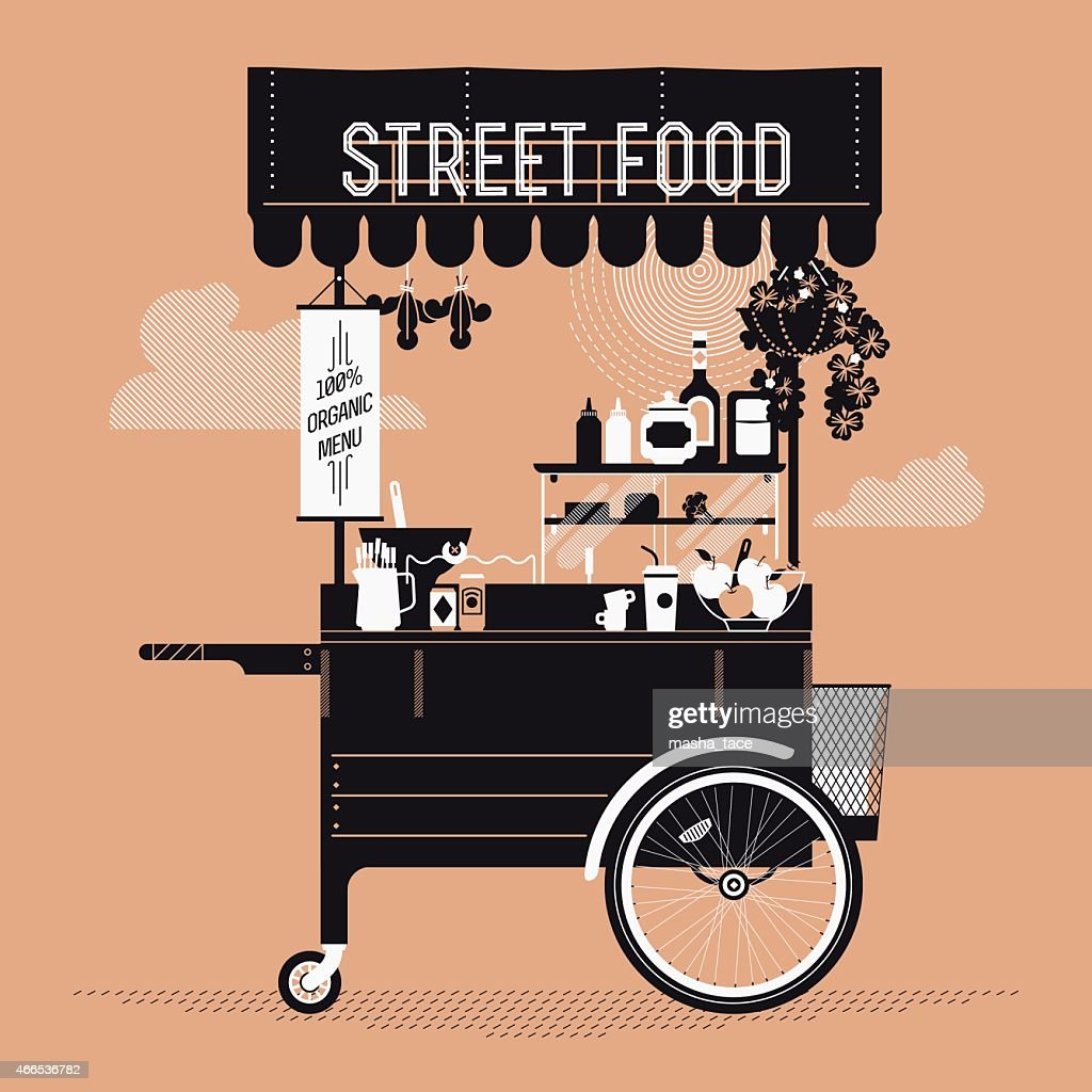 Graphic design on street food with retro vending cart