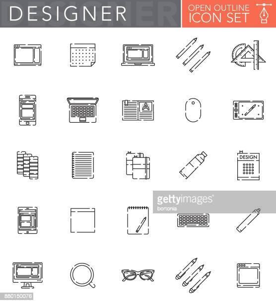 illustrations, cliparts, dessins animés et icônes de conception graphique contour ouvert jeu d'icônes dans le style design plat - graphiste