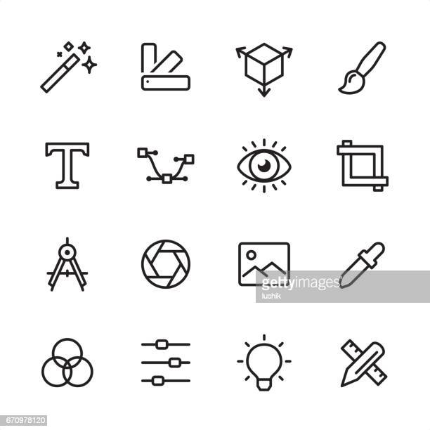 graphic design - outline icon set - work tool stock illustrations